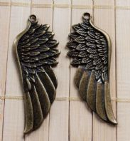 2 Pair of Bronze Angel Wings 58 x 22 mm